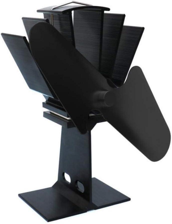 AOHMG Ventilador Estufa No eléctrico Ventilador para Estufa Alimentado por Calor, para leña/Quemador de leña/Chimenea Estufa Chimenea Ventilador Silencioso Ecológico,Black