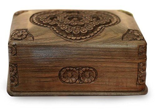 NOVICA Hand Carved Floral Treasured Roses' Walnut Wood Jewelry Box ()