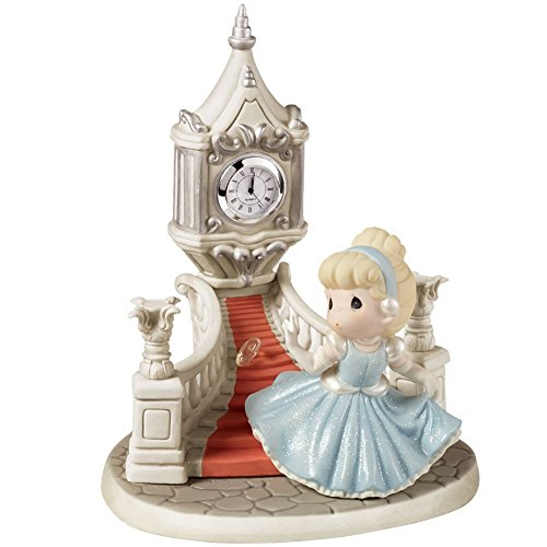 Precious Moments, Birthday Gift, Disney Ltd Ed Cinderella Running Down Steps With Glass Slipper/Clock Figurine, Porcelain Bisque, 153015