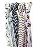 Bamboo 4pack Muslin Blankets for Baby Boy
