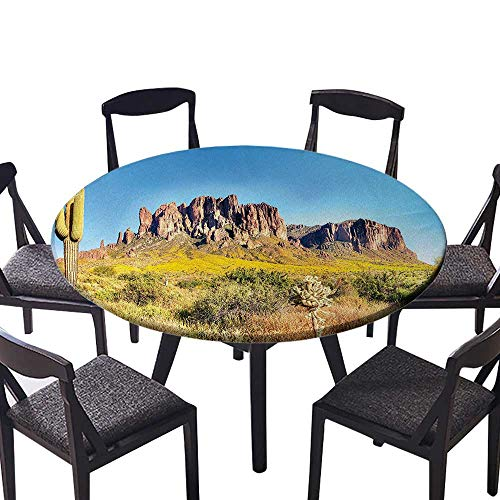 Picnic Circle Table Cloths Blooming Brittlebush Superstition Wilderness by The Mountain Phoenix View Orange Bro for Family Dinners or Gatherings 47.5