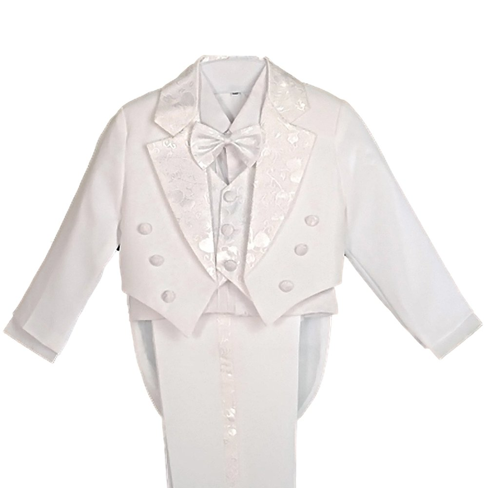 Dressy Daisy Boys' 5 Pcs Formal Tuxedo Suit With Tail Pageboy Christening Outfit