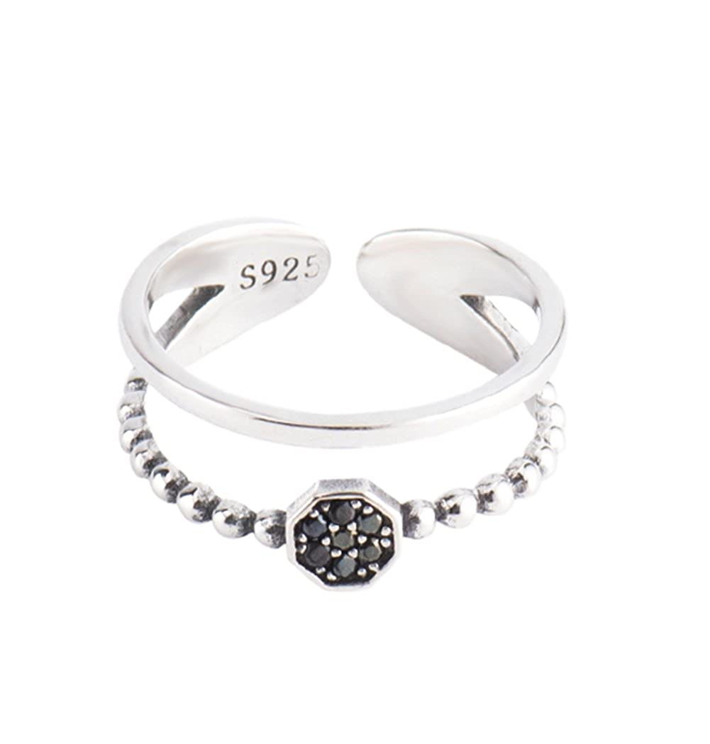 925 Sterling Silver Open Finger Rings Double Layer Round Crystal Band Rings Fashion Jewelry LILEI RT0263