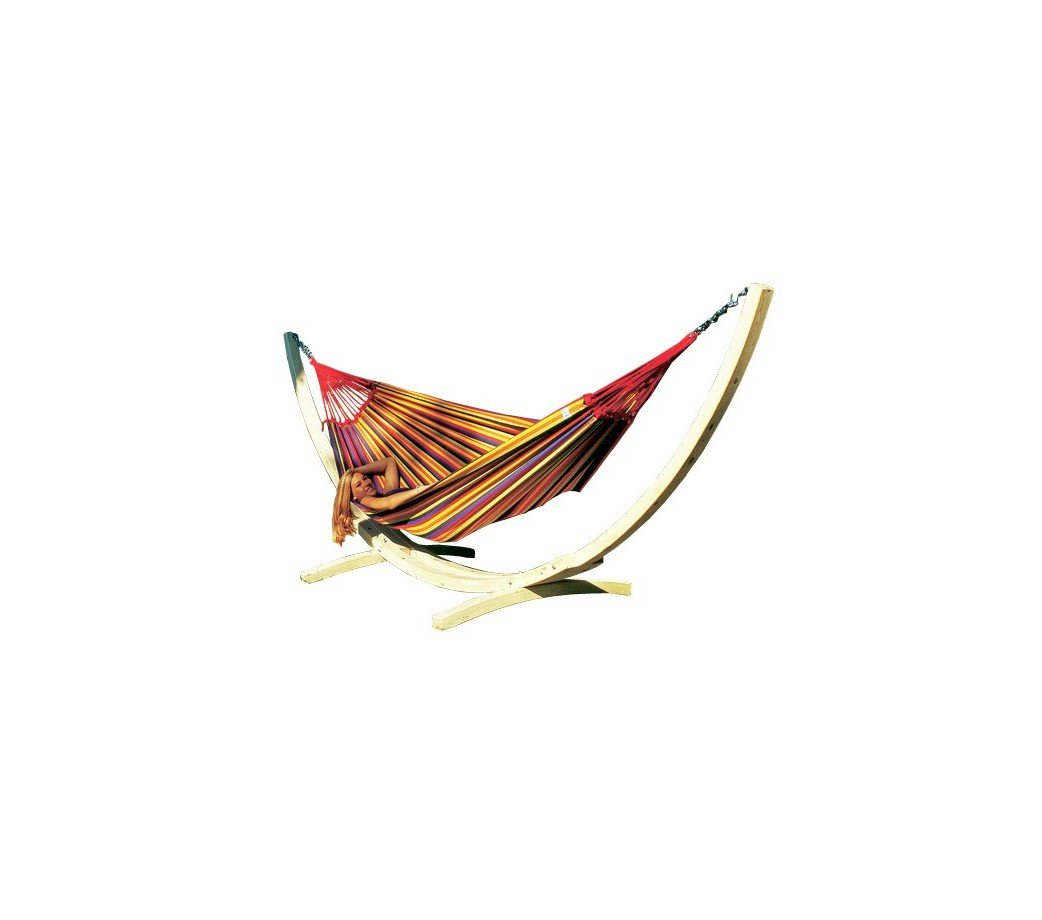 Amazonas Set Troja Gestellmit Paradiso tropical Hängematte, Belastbarkeit 200kg, Liegefläsche 250 x 175cm