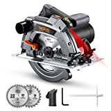 TACKLIFE Circular Saw with Laser Guide, 2 Blades(7-1/4' & 7-1/2'), Scale Ruler, 12A 5000 RPM Pure Copper Motor, Max Cutting Depth 2-3/5'' (90°), 1-7/10'' (45°)- PES03A