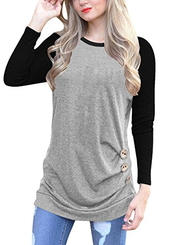 IVVIC Long Sleeve Shirts For Women O-Neck Patchwork Casual Loose Blouse Button Side Tunic Tops (Gray-Black)-M