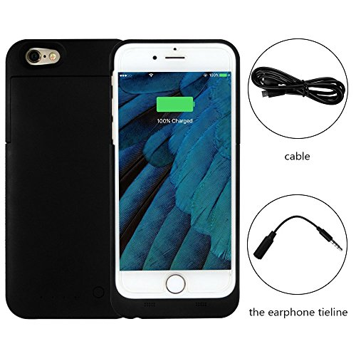 Battery Charger Case - 3100mAh Cell Phone Battery Pack, Back Up Power Bank, Portable Charging Case for iPhone6 6S - MFI Apple Certified, Black