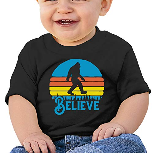 Retro Bigfoot Hippie Vintage 70s Vibe Believe 6-24 Months Baby Boys Baby Girls Casual T-Shirts Black