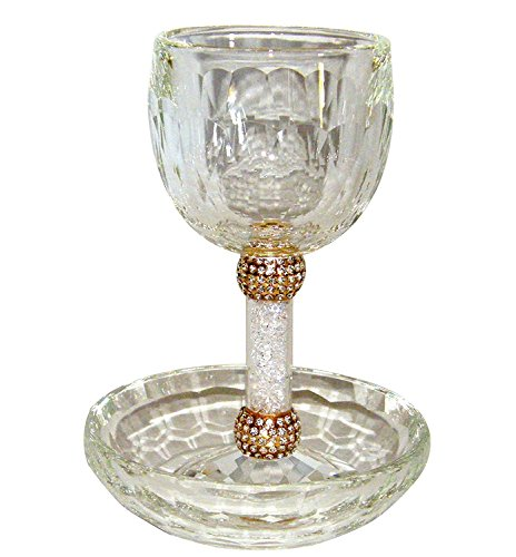 Crystal Kiddush Cup and Tray With White Stones in Stem and Gold Setting ()