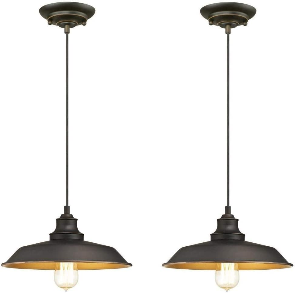 Ciata Iron Hill Oil Rubbed Bronze Finish Highlights with Metal Shade Iron Hill One Light Pendant 2 Pack