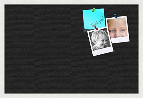 PinPix custom printed pin cork bulletin board made from canvas, Classic Black Pattern 30 x 20 Inches (Completed Size) and framed in Satin White Frame (PinPix-622) by PinPix (Image #8)