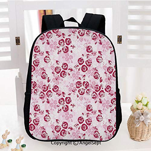 (Backpack for Kids,Artful Spring Garden Pattern with English Rose Blooms Romantic Abstract Decorative Printed Children School Backpack Cool Bookbag,Maroon Light Pink White)