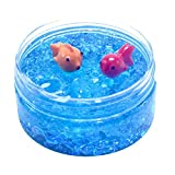 Cyhulu Cream Scented Slime Putty Fluffy Slime Toys, Fashion 100ML Fishbowl Bead Sequin Colour Goldfish Mud Mixing Cloud Slime Clay Kids Stress Reliever Toy, Party Birthday Favors (Blue, One size)