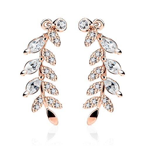 BodyJ4You Ear Crawler Earrings Marquise Cut Crystal Cartilage Climber Ear Cuff Leaf Rose Goldtone Women Fashion Jewelry