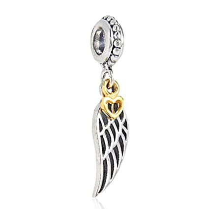 8f5178764 Amazon.com: Angel Charm Wing Charm 925 Sterling Silver Feather Charm ...