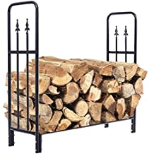Picotech Log Rack Black 4 Feet Indoor/Outdoor Decorative Firewood Storage Stylish Heavy Tubular Steel Power-coated Rust-resistant Durable Sturdy Porch Patio Backyard Under Eaves Wood Shed Family Room