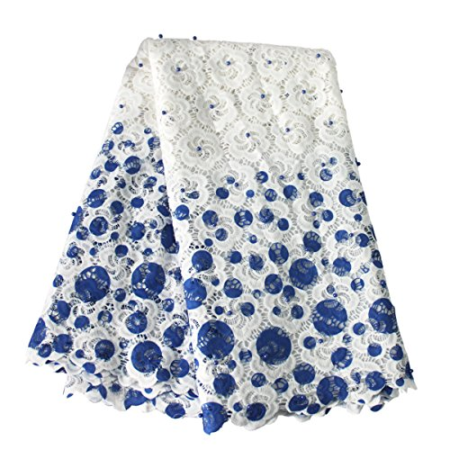 Aisunne African Lace Fabrics Classics Nigerian French Lace Fabric 5 Yards with Embroidered Beading for Wedding Party Dresses (Blue)