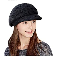 Beret peak knit stylish double layers design, keeps you warm and looking good in the cold weather.This winter hat completely covers your ears without having to yank it down all of the time.The knit hat keeps the sun out of your eyes because o...