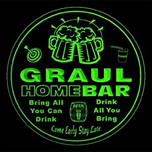 4x ccq17589-g GRAUL Family Name Home Bar Pub Beer Club Gift 3D Engraved Coasters