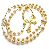 Rana Jabero Sparkling Clear Rhinestone & Gold Catholic Rosary w/Swarovski Crystals