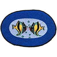Ustide Ocean Fish Rug Handmade Rug Washable Bathroom Mat Animal Rug for Kids Non-Slip Floor Mats for Foyer/Dooway Small