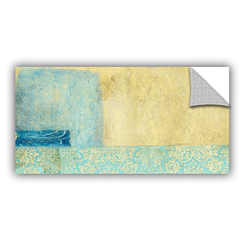 ArtWall Elana Ray's Gold and Blue Banner Art Appeelz Removable Graphic Wall Art, 12 x 24""