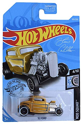Hot Wheels Rod Squad Series 4/10 '32 Coupe 105/250, Gold 32 Ford Coupe Hot Rod