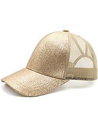 a492d60bc53 Womens Ponytail Messy High Buns Mesh Trucker Ponycaps Plain Baseball Cap  Dad Hat Adjustable Size