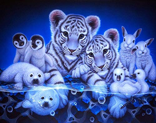 New 5D Diamond Painting Kits for Adults Kids, Awesocrafts Tigers, Penguins, Seals, Rabbits, Ducks Partial Drill DIY Diamond Art Embroidery Paint by Numbers with Diamonds (Animals)