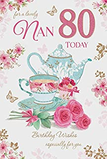 Nan 80 80th Happy Birthday Tea Pot Cake Design Good Quality Card With A Lovely