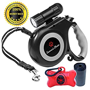 Retractable Dog Leash with Bright Flashlight For Small to Medium Breed Dogs, 16 ft Dog Walking Leash, Tangle Free Nylon Cord, Comfortable Grip, Dog Waste Dispenser Included - 100% Guarantee 45