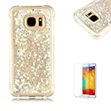 Funyye Liquid Quicksand Case for Samsung Galaxy S7,Sparkly Flowing Glitter Silver Love Hearts TPU Case for Samsung Galaxy S7,Slim Soft Rubber Flexible Clear Protective Silicone Case for Samsung Galaxy S7 + 1 x Free Screen Protector
