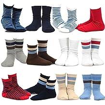 TeeHee Kids Boys Cotton Basic Crew Socks 12 Pair Pack