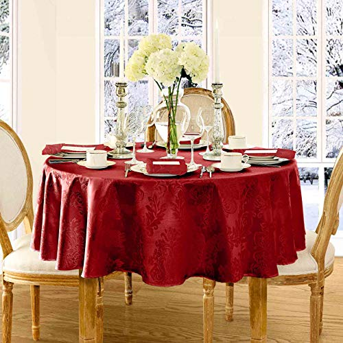 Newbridge Barcelona Luxury Damask Fabric Tablecloth, 100% Polyester, No Iron, Soil Resistant Holiday Tablecloth, 70 Inch Round, Red (70 Round Tablecloth Red)