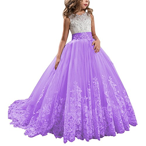 KSDN Wedding Flower Girls Dress Lace Tulle Dance Pageant Gown with Bow Lilac Custom Made]()