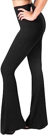 SATINA Women's High Waisted Flare Palazzo Wide Leg Pants