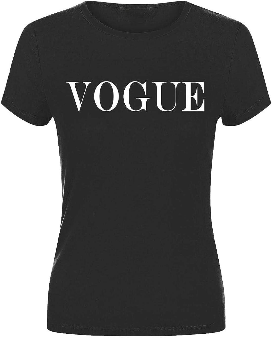 3XL Islander Fashions T-Shirt col Rond Imprim pour Femmes avec Slogan Vogue Womens Party Wear Manches Courtes Top S