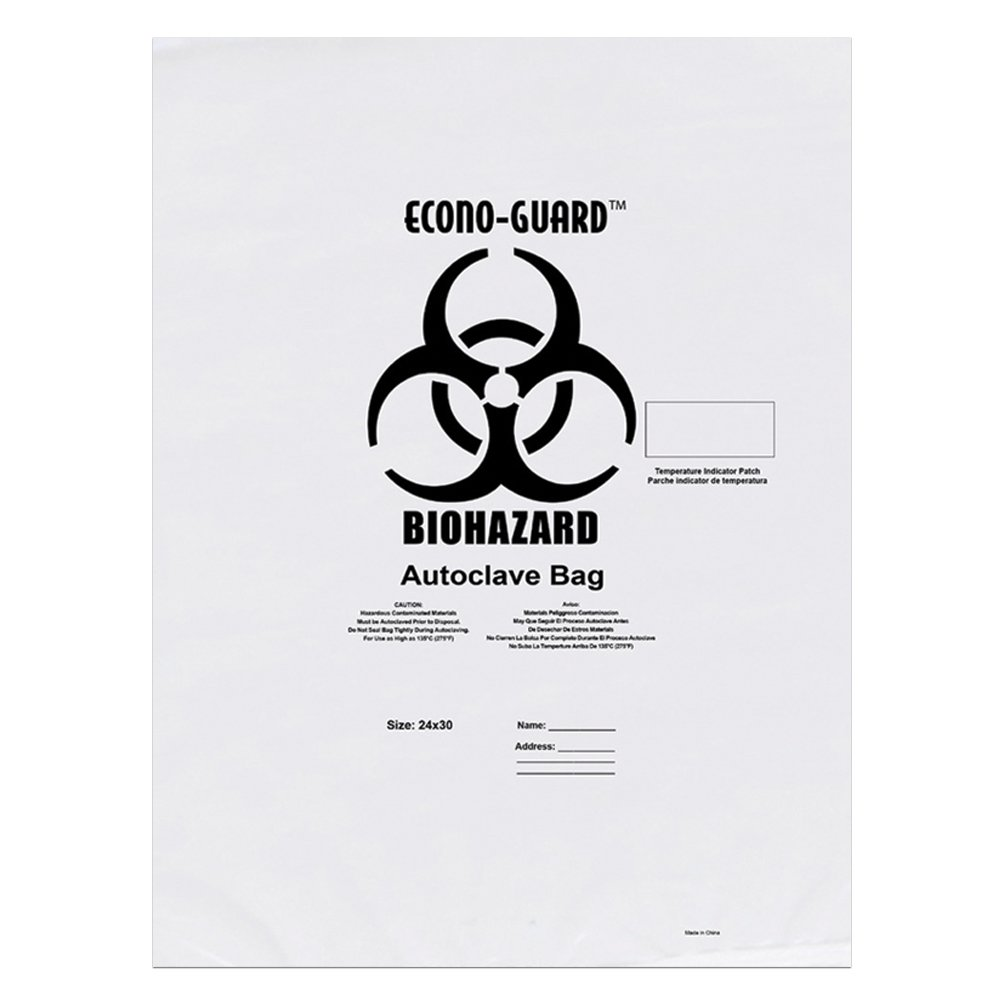 Action Health ACC31X38 Econo-Guard Polypropylene Biohazard Autoclave Bag, 31W x 38H, 2 mil, Indicator, clear, Biohazard Print (Pack of 200)