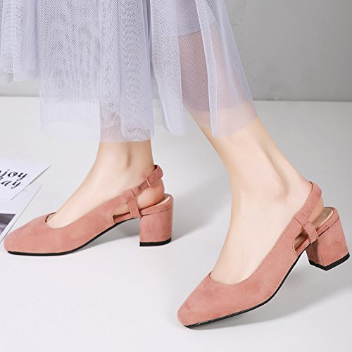 Cut Closed Elegant Women's KingRover Toe Low Block Pumps Shoes with Square Heel Pink1 Bows Slingback Toe 8q5w5nz