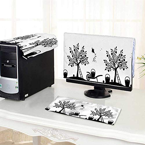 stproof Three-Piece Vector Border with Apple Trees Barrows and Baskets pples Isolated on White for LED LCD Screens Flat Panel HD Display /22