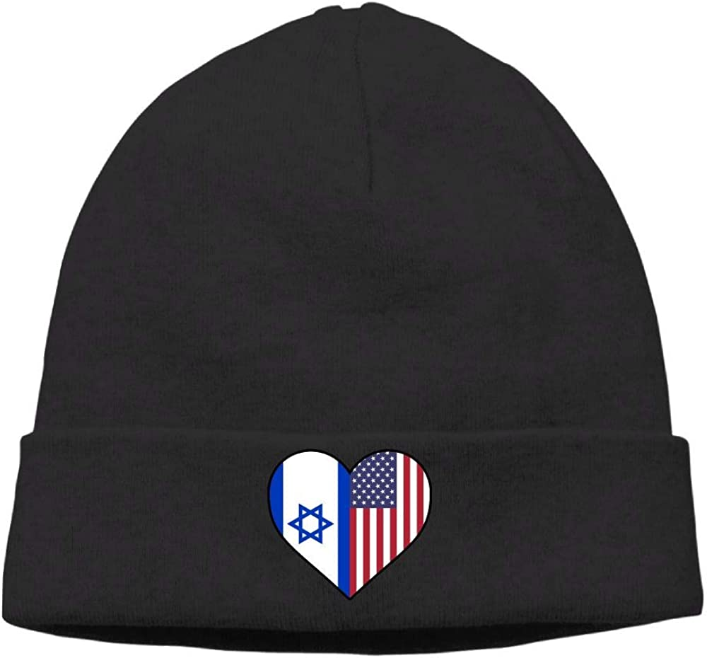 09/&JGJG Israel Flag Half America Flag Half Heart Shaped Men /& Women Knit Beanie Cap Warm Knit Ski Skull Cap