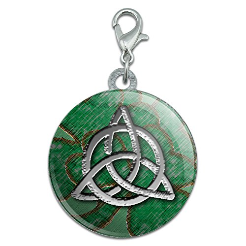 Made On Terra Celtic Trinity Circle Green Clovers Stainless Steel Pet Dog ID Tag