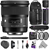 Sigma 24mm F1.4 ART DG HSM Lens for CANON DSLR Cameras w/ Advanced Photo and Travel Bundle