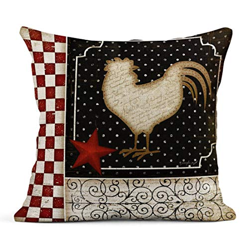 - Tarolo Linen Throw Pillow Cover Case Rooster Country Country French Decorative Pillow Cases Covers Home Decor Square 18 x 18 Inches Pillowcases