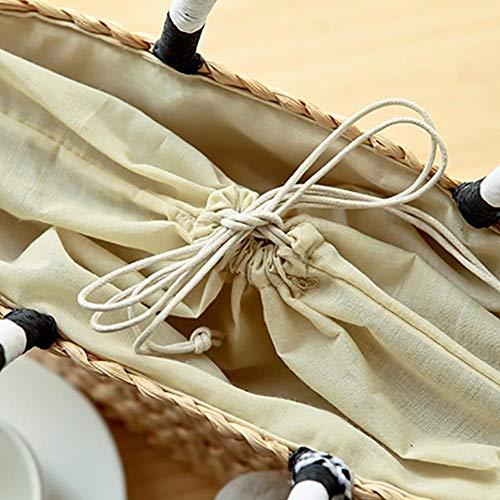 Fait Style Littéraire de Couleur Clock Cadeau Plage Bandoulière Paille Voyage Paille en Sac Vacances la Sac Hifuture Idéal Main Tissé en Mini Carré à Bohême Sac Mode Noir et Blanc Fille Femme à de Sac 5wvPq74x7