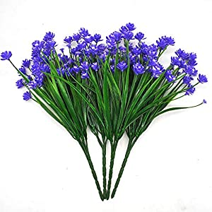 MARJON Flowers4pcs Artificial Fake Flower,Greenery Bushes,Babies Breath Real Touch Flowers,House Office Wedding Cemetery Outdoors Decor (Purple) 15