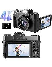 Digitale camera 4K digitale camera 48 MP 30 fps Full HD compacte camera met inklapbaar display met 180 graden draaibaar (automatisch punt-automatisch en 32 GB micro-SD-kaart)