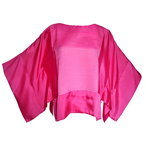 Amazing Grace Thai Silk Ethnic Batwing Kimono Tunic Butterfly Top (Pink)