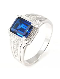JewelryPalace Luxury 4.6ct Created Blue Sapphire Wedding and Engagement Ring For Men Genuine 925 Sterling Sliver