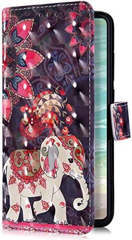 Uposao Kompatibel mit Xiaomi Redmi 6 Handyhülle Bling Glitzer Bunt Muster Leder Tasche Schutzhülle Brieftasche Handytasche Wallet Lederhülle Klapphülle Flip Case,Mandala Blumen Elefant